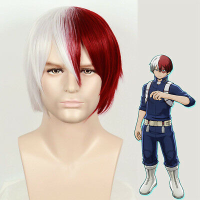 My Hero Academia Todoroki Shoto Costume Wig Silver Grey Red Hair for Cosplay