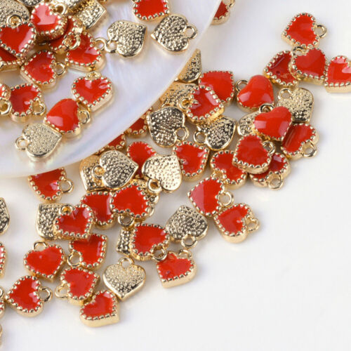 6 Tiny Heart Charms Enamel Gold Red Love Findings Dangles Jewelry Making