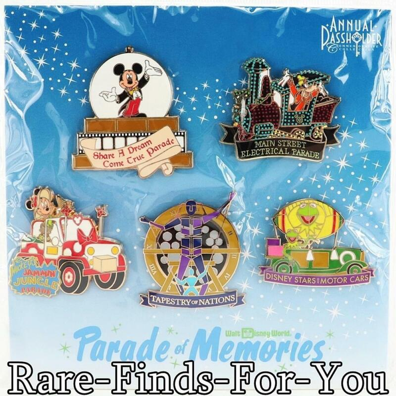 Disney Parks WDW Mickey Parade of Memories Passholder 5-Pin Booster Pack Set NEW