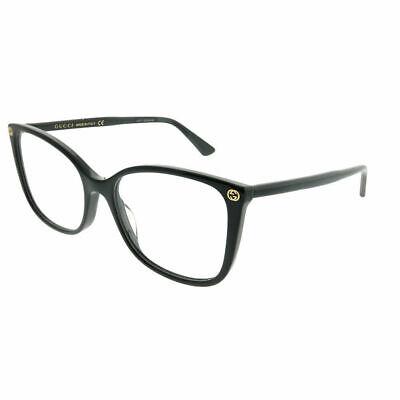 79894f4fb8d New Authentic Gucci GG0026O 001 Black Plastic Square Eyeglasses 53mm