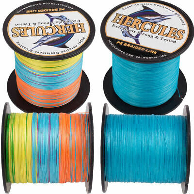 Hercules Bule Multi-Color 10-300lb Super Test 4/8 Strands PE Braid Fishing Line 10 Lb Test Fishing Line