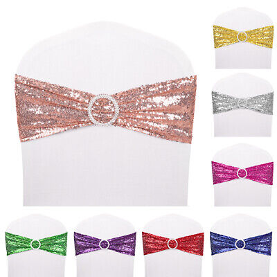 10-100 Spandex Sequin Chair Cover Sashes Bows Bands Xmas Wedding Banquet