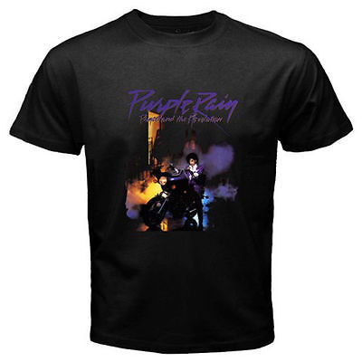 PRINCE PURPLE RAIN T-SHIRT 80'S TOUR MUSIC POP ICON RIP NEW S-4XL - BLACK