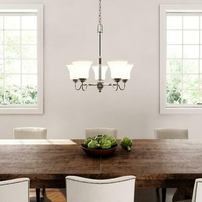 Hampton Bay 5-Light Brushed Nickel Chandelier with Frosted Glass Shades 712 607