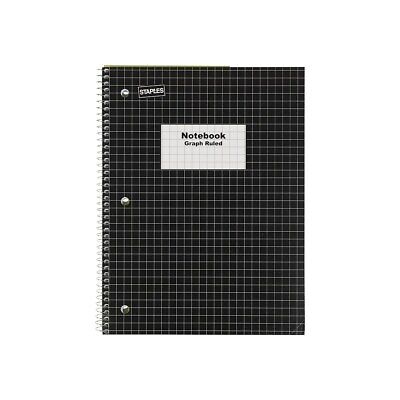 Staples 1-subject Notebook 8 X 10.5 Graph Ruled 70 Sheets Black 23986b