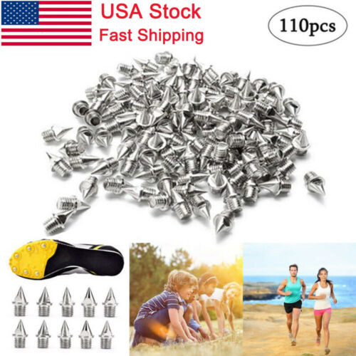 Steel Track Cross Country Silver Shoe Spikes Replacement 110 Pcs 1/4 Inch