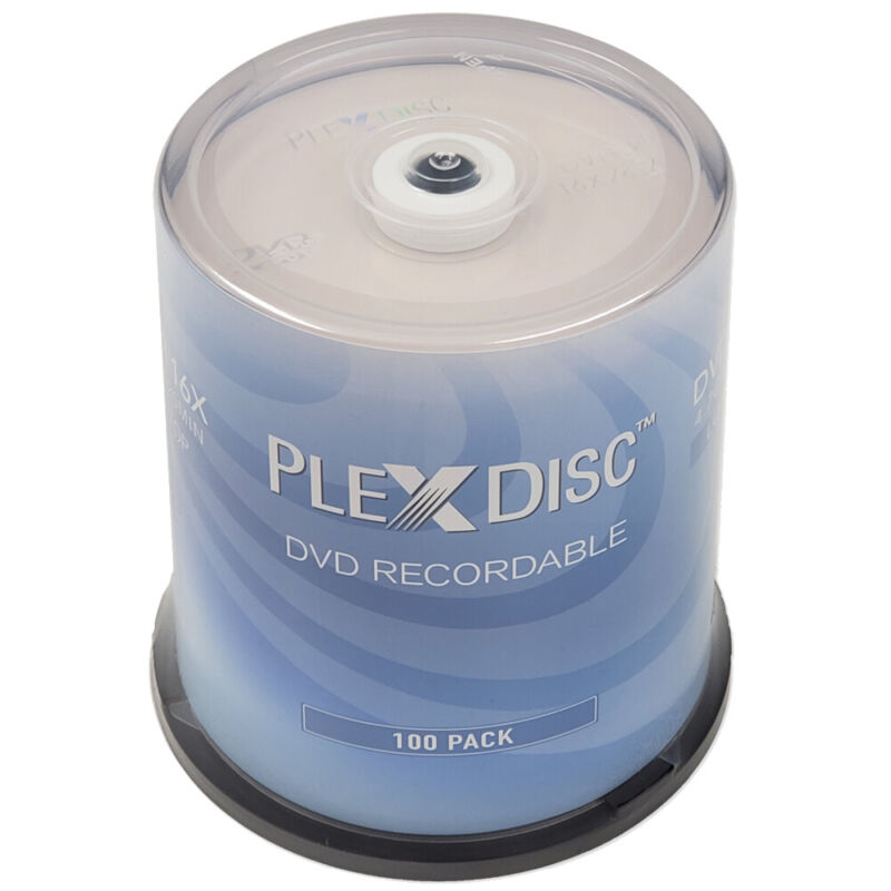 100 PC PlexDisc 16X 4.7 GB DVD-R Logo Top Disc Blank Media Cake Box  632-815