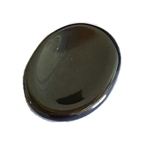 One Black Agate Worry Stone NEW Thumb Stone Gemstone Crystal - US Seller!