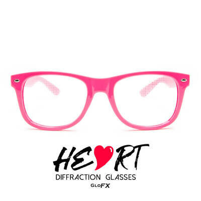 GloFX Heart Effect Diffraction Glasses - Pink - Light Show 3D Effects (Heart Glasses Pink)