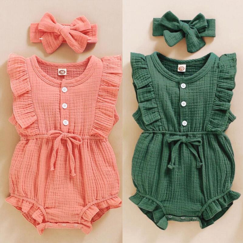 Newborn Baby Kids Girls Sleeveless Ruffle Button Romper jumpsuit+Headband Set