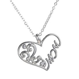 Fashion Crystal Hollow Love Heart Mom Charm Silver Chain Pendant Necklace