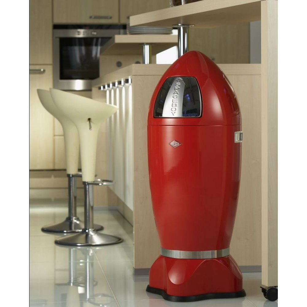 Red Retro Kitchen Brand New Wesco Xl Spaceboy Rocket Bin 35 Litres Chrome Steel Red