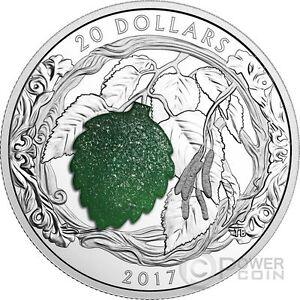 BRILLIANT BIRCH LEAVES Drusy Stone Silver Coin 20$ Canada 2017 - Italia - BRILLIANT BIRCH LEAVES Drusy Stone Silver Coin 20$ Canada 2017 - Italia