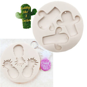 Silicone Pendant Resin Mold Tag Keychain Resin Casting Mould Necklace Epoxy DIY