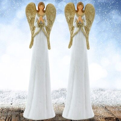 2er Set Schutz Engel betend Wohn Zimmer Tisch Dekoration Figur Glitzer Flügel
