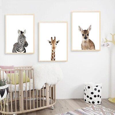 Zebra Koala Baby Animal Canvas Poster Nursery Print Wall Art Kids Bedroom Decor