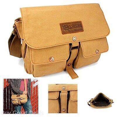 Gearonic TM Mens Vintage Look Canvas Leather Messenger Bag Satchel School