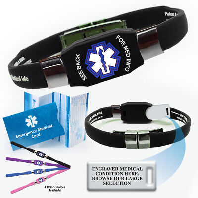 Medical Medical Id Bracelet - ELITE Medical Alert ID Bracelet. Waterproof! Choose Color and Medical Cond.