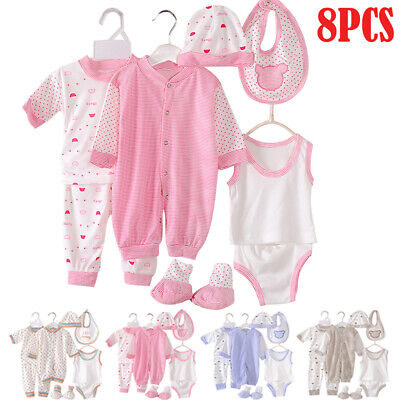 Newborn Baby Outfits Clothes Infant Boy Girl Stripe Romper Jumpsuit Layette Set