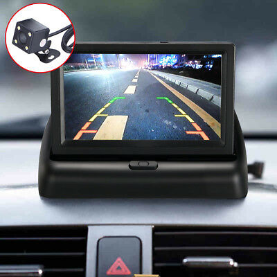 "Wired HD Car Reversing Camera 170°+ 4.3"" LCD Foldable Monitor Rear View Kit UK"
