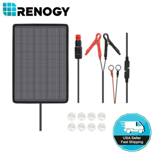 Renogy 10W Watt Solar Panel Battery Charger 12V Battery Charging Kit Rv Camping