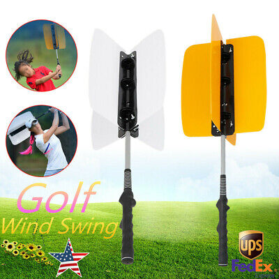 Golf Swing Power Fan Resistance Practice Training Aid Grip Train Trainer Guide