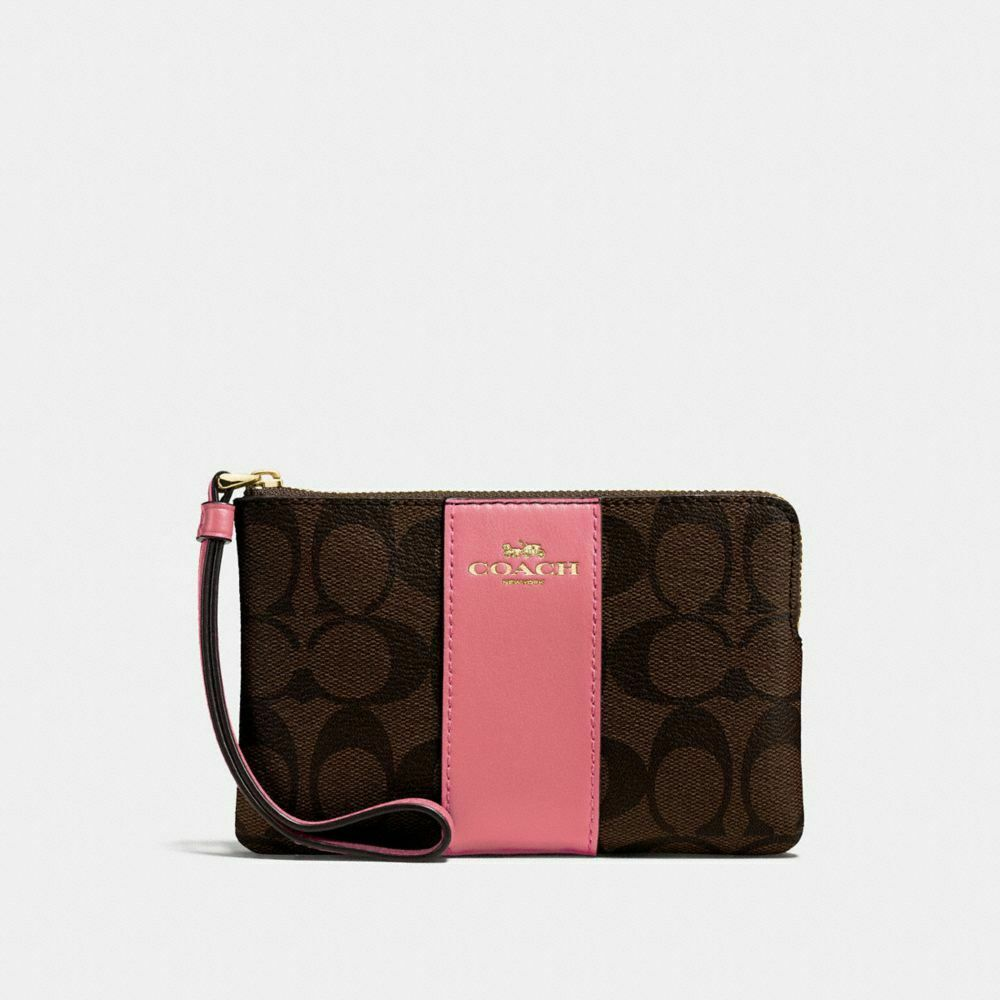 New Coach F58032 F58035 Corner Zip Wristlet With Gift Box New With Tags Brown Peony