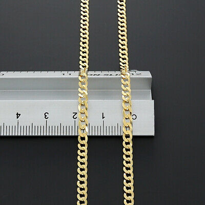 "New 9 k Yellow Gold Italian Bevelled Edge Curb Chain - 20"" - 3mm - RRP £280 {R1}"