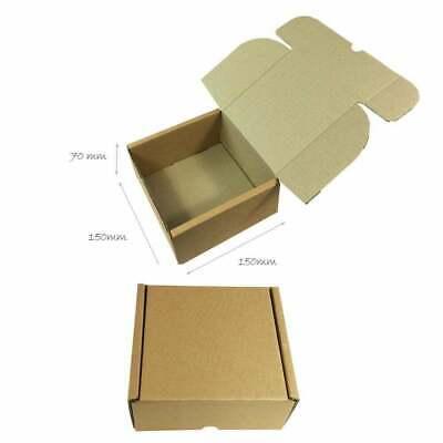 25 x Folding Lid Self Seal Cardboard Postal Boxes 150 x 150 x 70 mm
