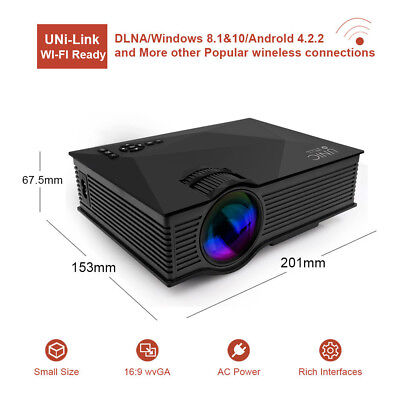 1080P Full HD Smart 3D Wifi LED Projector Home Theater HDMI VGA USB Balck