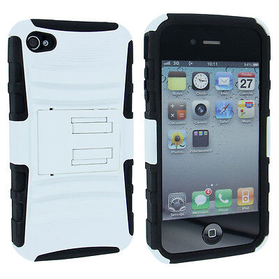 Black / White Rigid Hybrid Hard Case Cover with Black Holster for iPhone 4 / 4S 4s White Hard Case