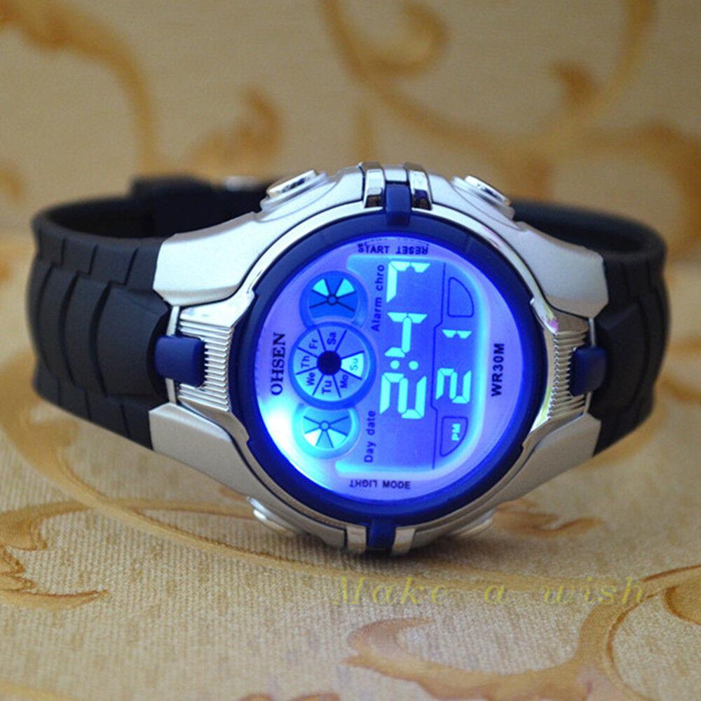 OHSEN 7 Color Funny LED Light Sport Digital blue Boys ...