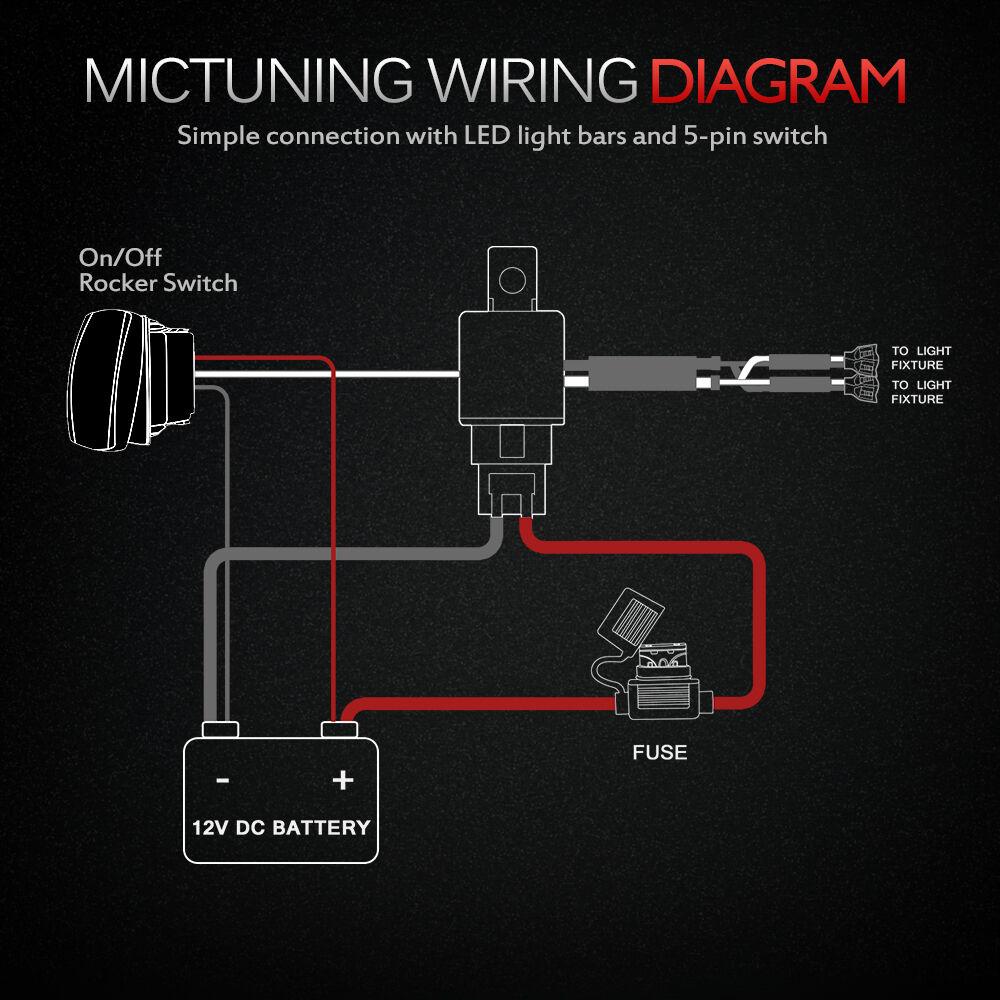 mictuning hd wiring harness 12 awg 600w led work light bar 60a rh ebay com mictuning winch rocker switch wiring diagram