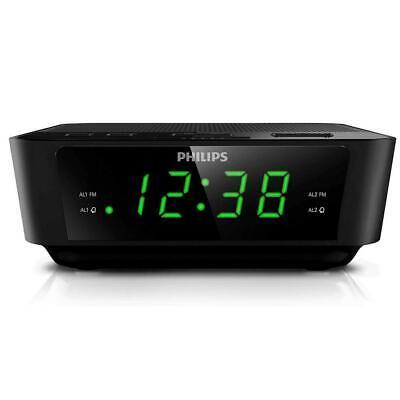 PHILIPS Digital Alarm Clock Radio for Bedroom FM Radio, LED Display, Black