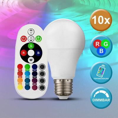 10x LED 6 W E14 Leuchtmittel Fernbedienung RGB Farbwechsel Lampen dimmbar EEK A+