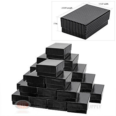 25 Black Pinstripe Cotton Filled Jewelry Gift Boxes 2 58 X 1 12