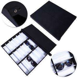 18 Slot Luxurious Black Eyeglasses Sunglasses Storage Organizer Display Case  Box