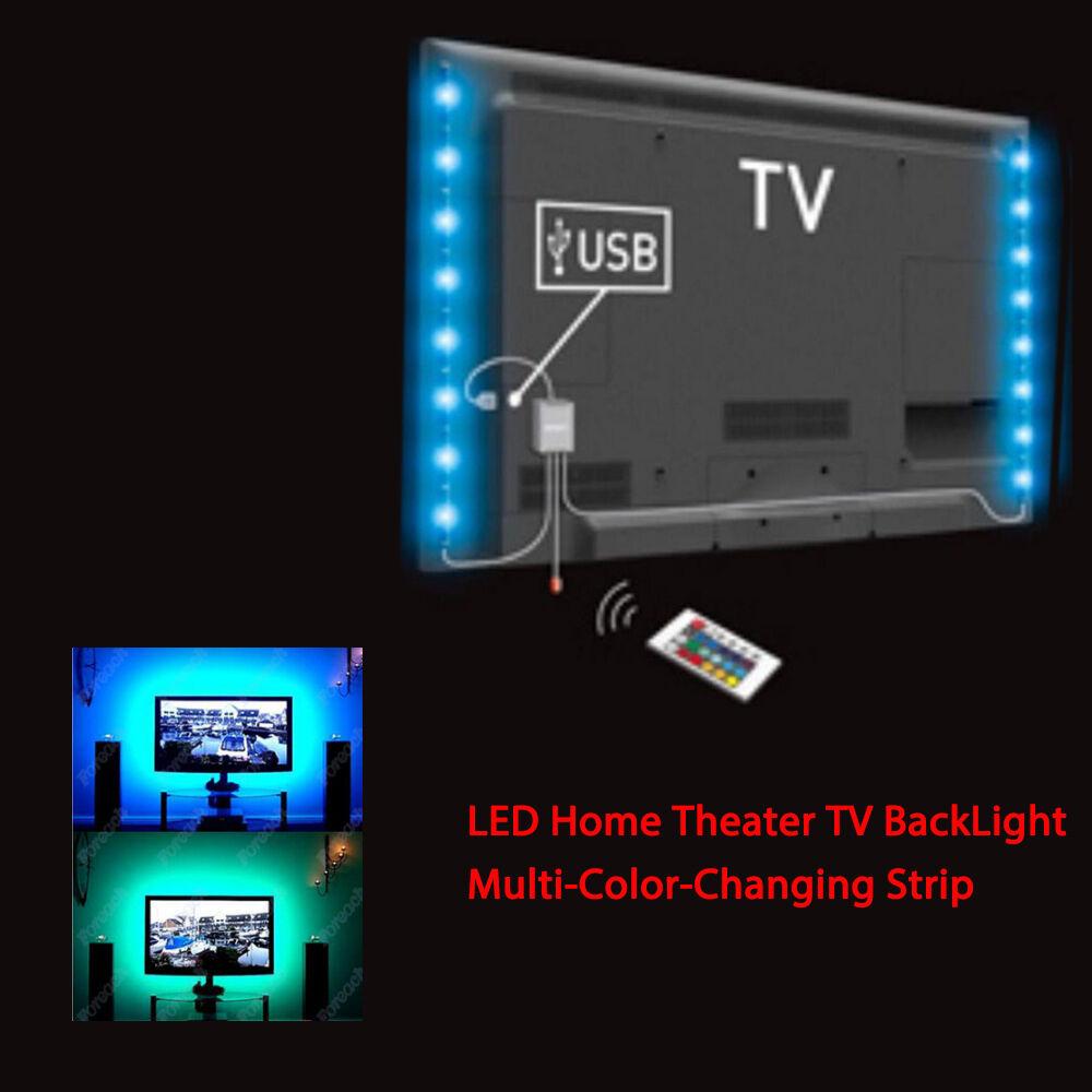 Led Home Theater Tv Back Light Bias Accent Lighting Kit: 4 Pcs USB LED RGB Multi Color Strip Mood Light Lamp Kit TV