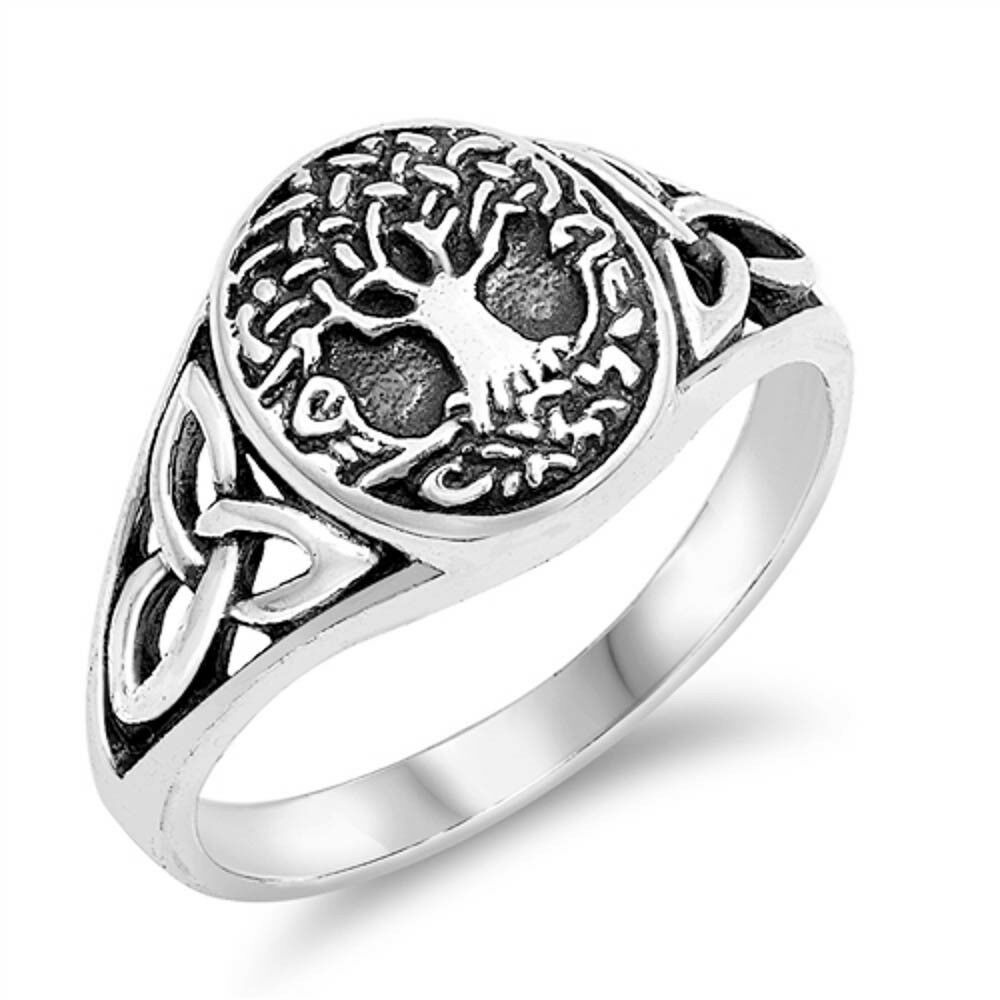 BORUO 925 Sterling Silver Ring Tree of Live Band Ring 2mm Size 4-12