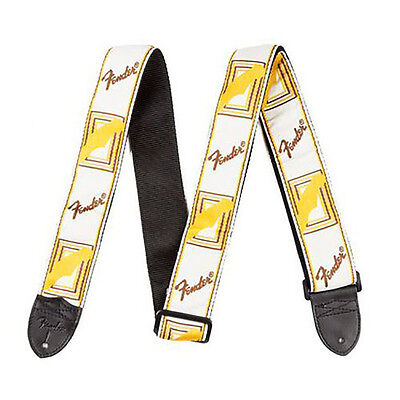 """Fender 2"""" Inch Monogrammed White Brown Yellow Adjustable Electric Guitar Strap"""