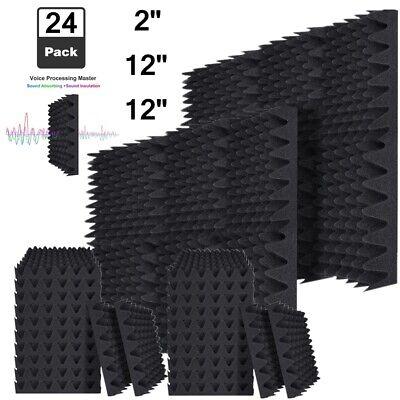 "24 Pack Acoustic Foam Panels Egg Crate Soundproofing 2""X 12"" X 12"" Studio Tiles"