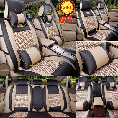 M PU Leather&Cooling Mesh Seat Covers 5 Seats Car Breathable Cushions Pillow Set