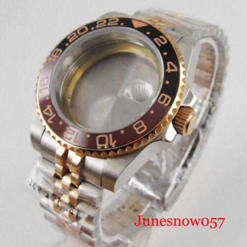 Fit ETA 2836 MIYOTA Movement Rose Gold Coated Watch Case + Watch Jubilee Band