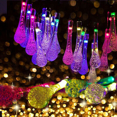 30LED Solar Power Outdoor LED String Lights Water Drop Lamp Colorful Party Light ()