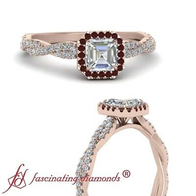 Halo Classic Vine Engagement Ring With Asscher Cut Diamond And Ruby 0.75 Carat