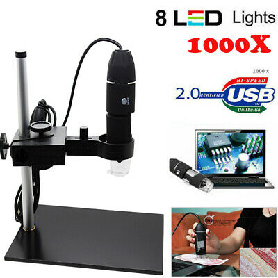 8led 1000x Usb Digital Microscope Endoscope Magnifier Cameralift Stand Us Q3c8