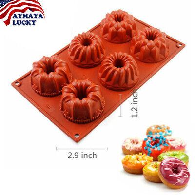 6-Cavity Silicone Mini Bundt Cake Mold Baking Pan Savarin Mould Cookie Bakeware 6 Cavity Pan