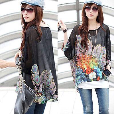 Oversized Women Bohemia Style Blouse Chiffon Casual Loose Spring T-Shirt Tops CA
