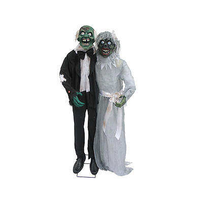 The Newly Deads 5' ft Halloween Animated Decoration Animatronic Prop Bride Groom