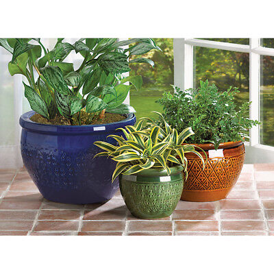 3 Pc  Jewel Tone Earthenware Ceramic Planter Pot Set New 38899
